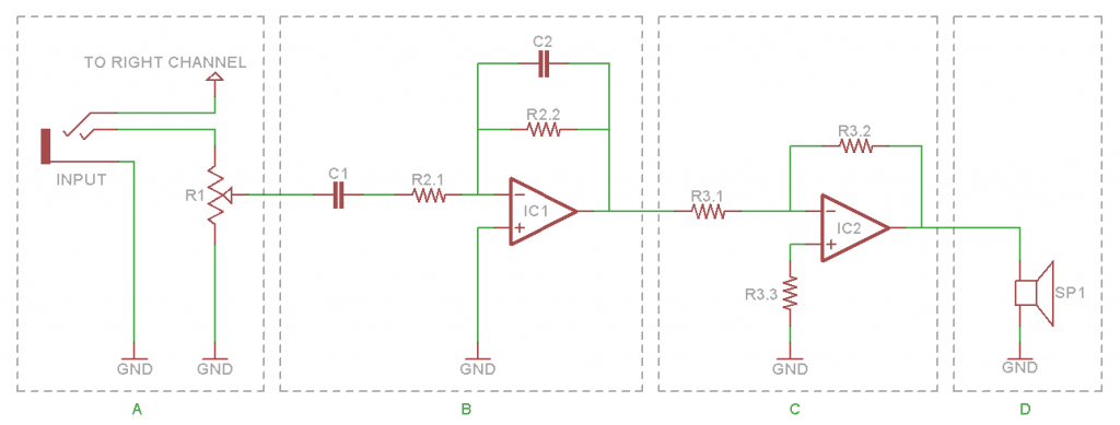 Figure 1: Left Channel Amplifier Circuit